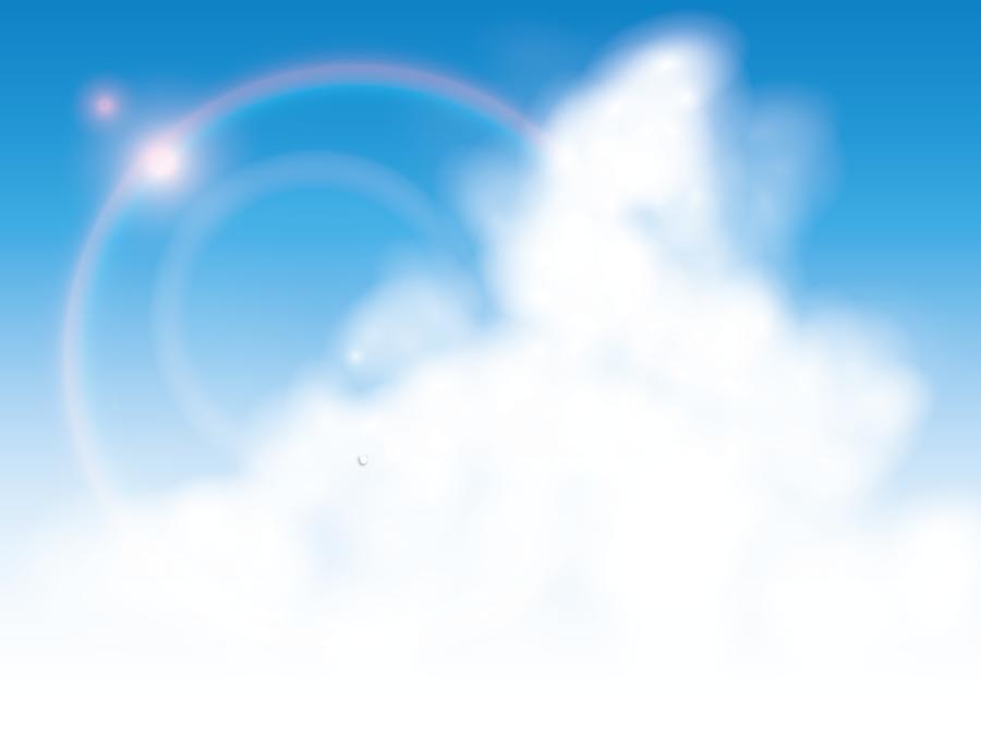 フリーイラスト 夏の雲と日差しの風景