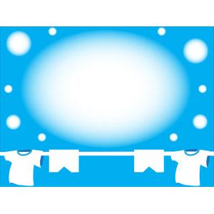 フリーイラスト, ベクター画像, AI, 背景, フレーム, 円形フレーム, 洗濯, 洗濯物, 青空