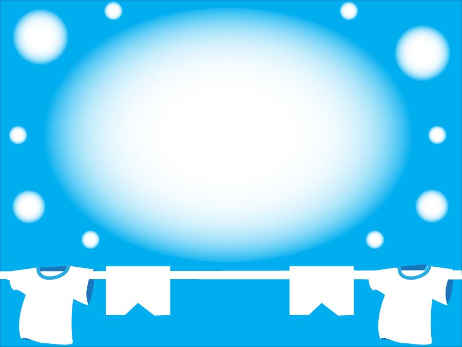 フリーイラスト 洗濯物と青空の円形フレーム