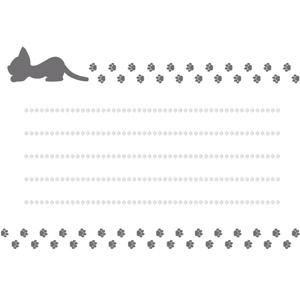 フリーイラスト, ベクター画像, EPS, 背景, メッセージカード, 動物, 猫(ネコ), シルエット(動物), 足跡(動物)