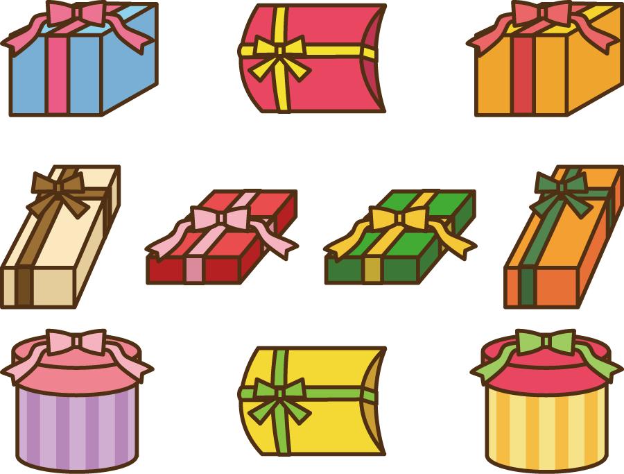 フリーイラスト 10種類のラッピングされたプレゼントのセット