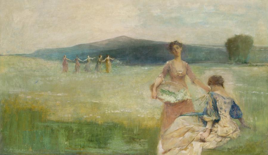 フリー絵画 トマス・デューイング作「春」