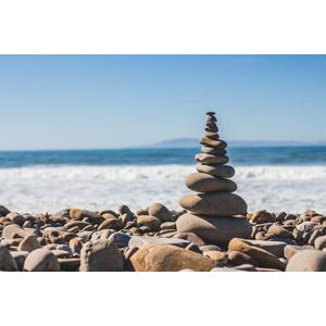 フリー写真, 風景, 海岸, 積み石(ケルン), 石, 海