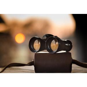 フリー写真, 双眼鏡, 夕暮れ(夕方), 夕日