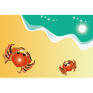 フリーイラスト, ベクター画像, EPS, 動物, 甲殻類, 蟹(カニ), 親子(動物), ビーチ(砂浜), 夏