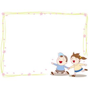フリーイラスト, ベクター画像, EPS, 背景, フレーム, 囲みフレーム, 人物, 子供, 男の子, 女の子, 手をつなぐ, 桜(サクラ), 花びら, 春