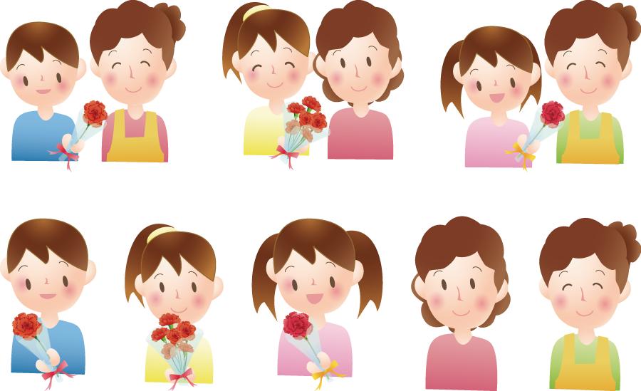 フリーイラスト 8種類のカーネーションを渡す子供と母親のセット