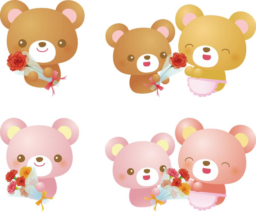 フリーイラスト 4種類の母の日のクマのセット