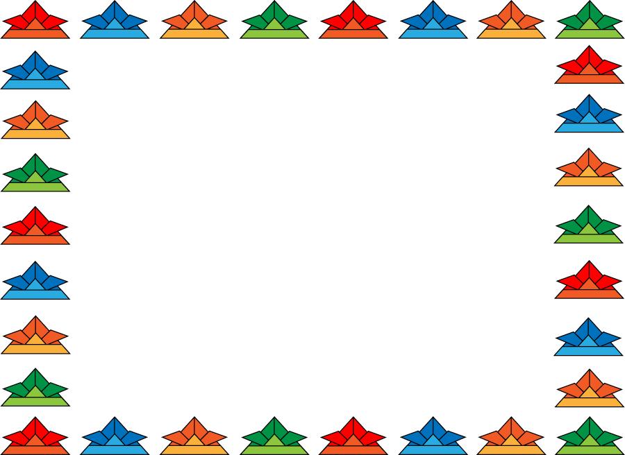 フリーイラスト 折り紙の兜のフレーム