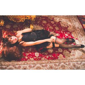 フリー写真, 人物, 女性, アジア人女性, 喬喬兒(00135), 中国人, ゴスロリ, ロリータ・ファッション, 寝転ぶ, 仰向け