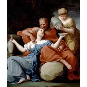 フリー絵画, マルカントニオ・フランチェスキーニ, 宗教画, 旧約聖書, ロト, 娘, 親子, 父親(お父さん), お酒