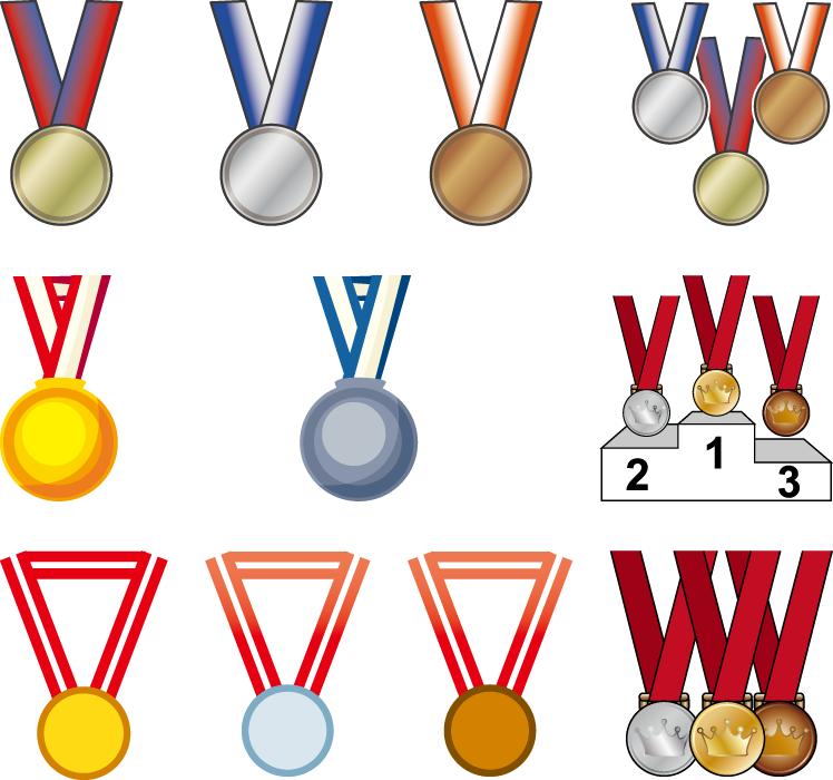 フリーイラスト 金メダル、銀メダル、銅メダルのセット
