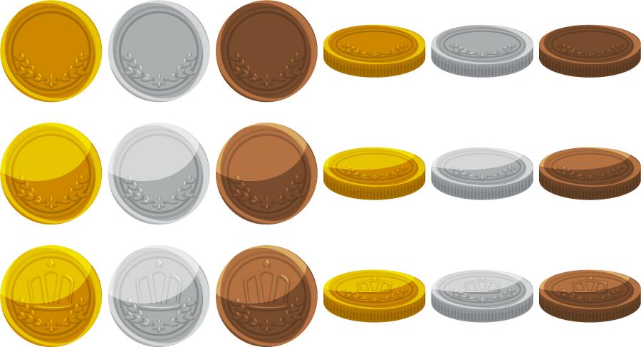 フリーイラスト 18種類の金貨、銀貨、銅貨のセット