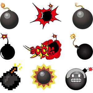 フリーイラスト, ベクター画像, AI, 武器, 爆弾, 爆発
