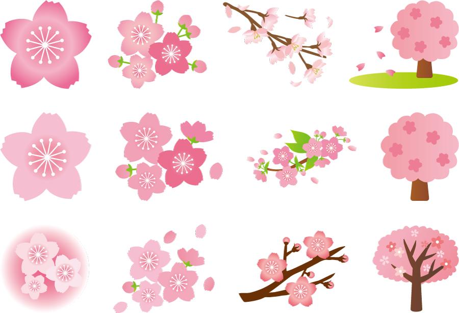 フリーイラスト 12種類の桜の花と枝と木のセット