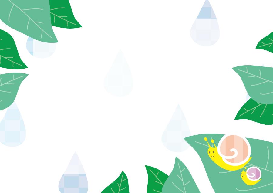 フリーイラスト 雨と葉とカタツムリの飾り枠
