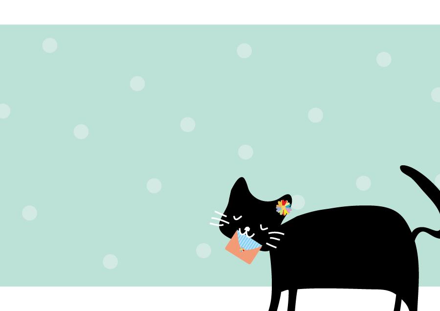 フリーイラスト 手紙を咥えた黒猫の背景