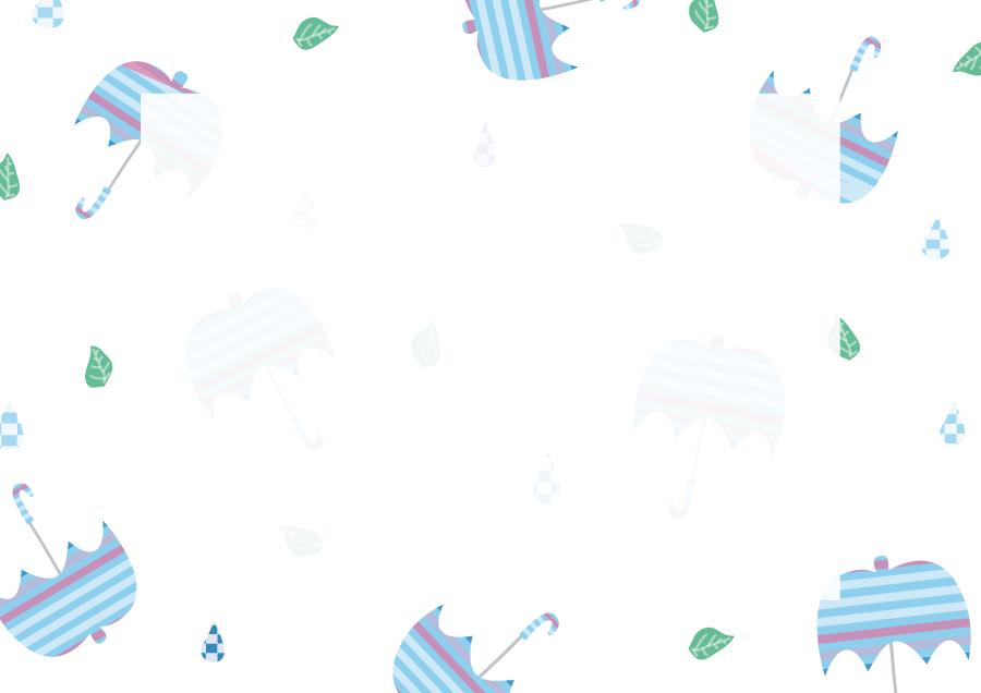 フリーイラスト 傘と雨と葉の飾り枠