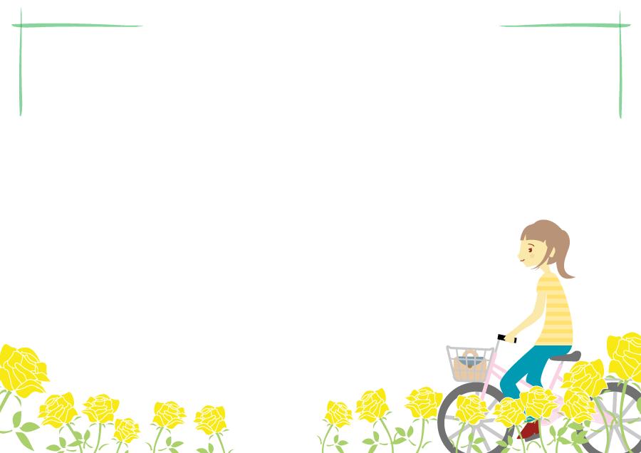 フリーイラスト 花畑と自転車に乗る女性の飾り枠