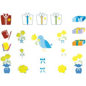 フリーイラスト, ベクター画像, AI, 年中行事, 父の日, 6月, ワイシャツ, 手帳, 花, 薔薇(バラ), 黄色の花, 小鳥, 青い鳥, プレゼント, 蝶リボン