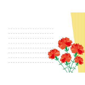 フリーイラスト, ベクター画像, AI, 年中行事, 母の日, 5月, 便箋, 花, カーネーション, 赤色の花