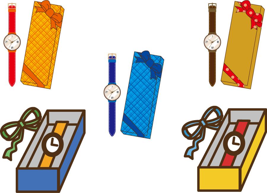 フリーイラスト 5種類の腕時計のプレゼントのセット