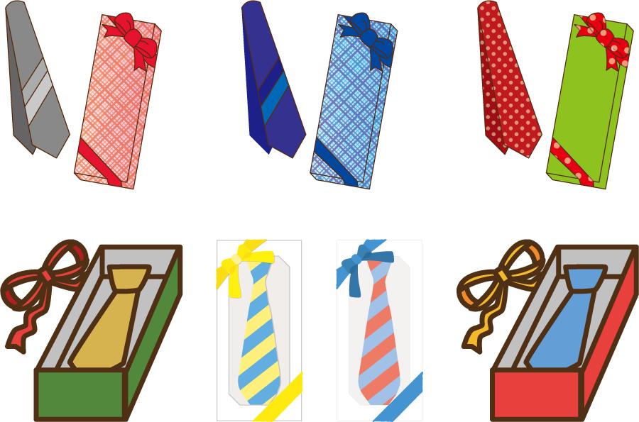 フリーイラスト 7種類のネクタイのプレゼントのセット