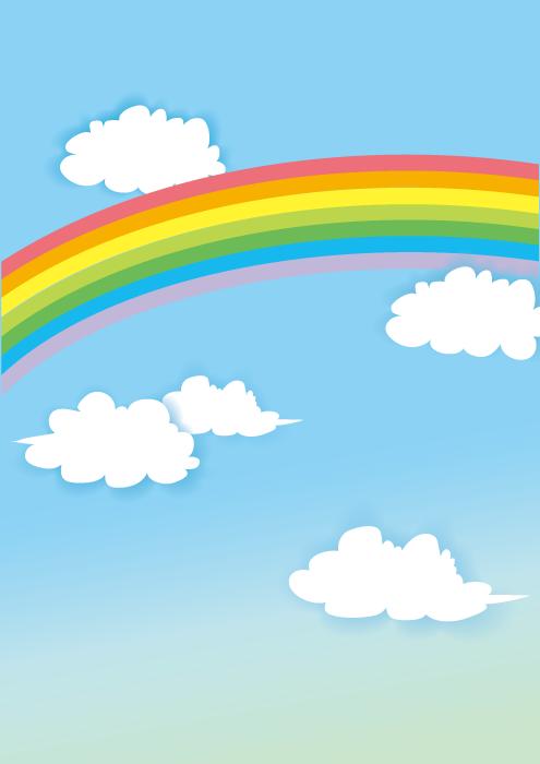 フリーイラスト 虹と雲の空の風景
