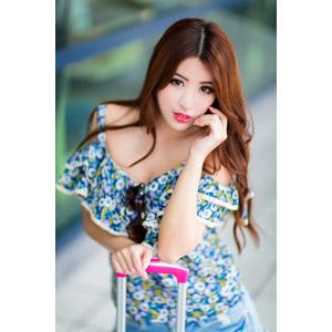 フリー写真, 人物, 女性, アジア人女性, 鄔育錡(00178), 中国人, 頬に手を当てる
