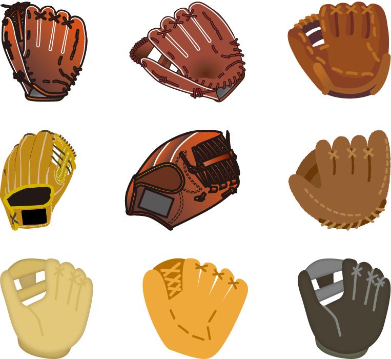 フリーイラスト 9種類の野球のグローブのセット