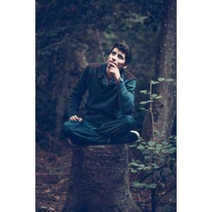 フリー写真, 人物, 男性, 外国人男性, スイス人, 座る(木), あぐらをかく, 考える, 顎に指を当てる, 切り株」