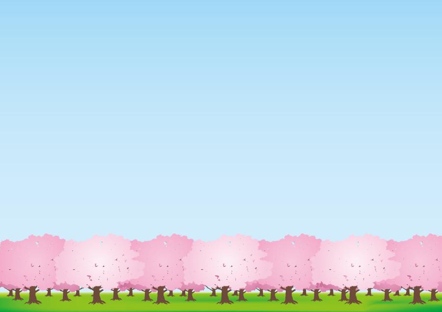 フリーイラスト 青空とさくら並木の風景