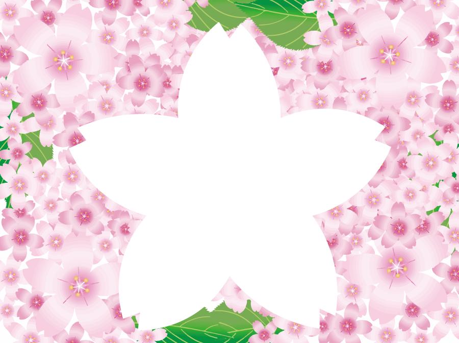 フリーイラスト 桜の花と花型のフレーム