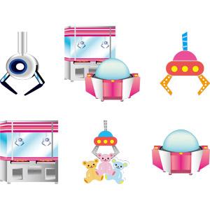 フリーイラスト, ベクター画像, AI, ゲーム, ゲームセンター, クレーンゲーム, プッシャーゲーム, アーケードゲーム, ぬいぐるみ