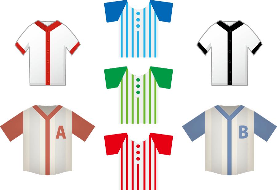 フリーイラスト 7種類の野球のユニフォームのセット