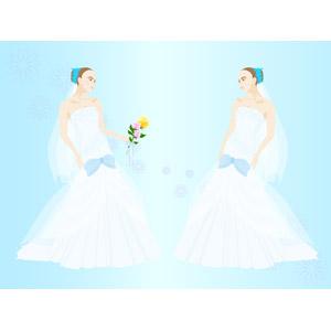 フリーイラスト, ベクター画像, EPS, 背景, 結婚式(ブライダル), 人物, 女性, 花嫁(新婦), ウェディングドレス, ブーケ