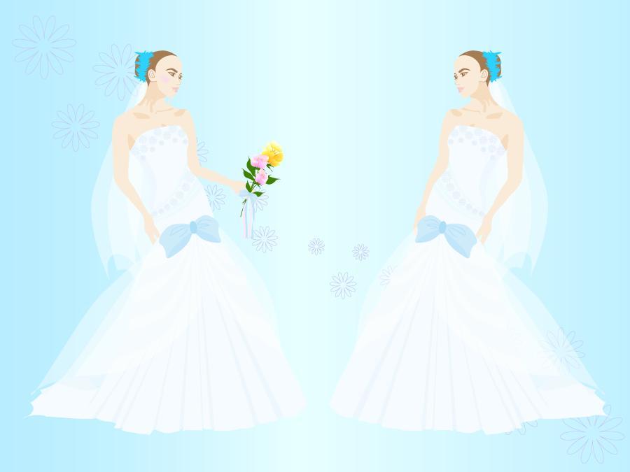 フリーイラスト ウェディングドレス姿の花嫁の背景