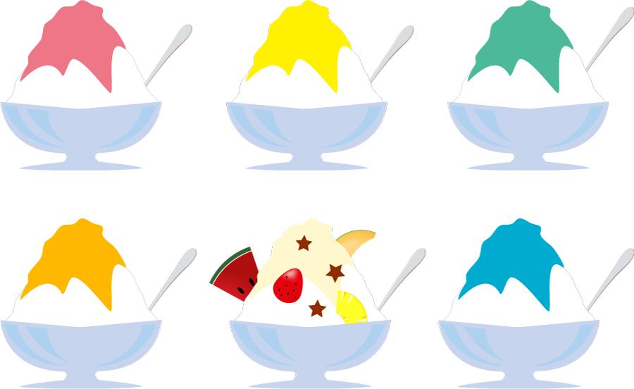 フリーイラスト 6種類のかき氷のセット
