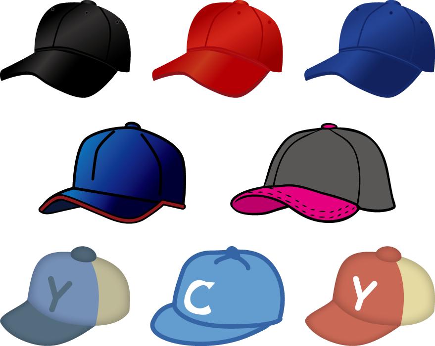 フリーイラスト 8種類の野球帽のセット