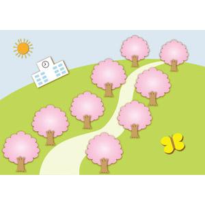 フリーイラスト, ベクター画像, AI, 風景, 桜(サクラ), 樹木, 並木道, 太陽, 学校, 校舎, 丘, 蝶(チョウ), 春