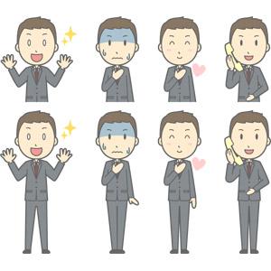 フリーイラスト, ベクター画像, AI, 人物, 男性, 男性(00179), ビジネス, 仕事, 職業, ビジネスマン, サラリーマン, メンズスーツ, 目を輝かせる, 通話, 固定電話, 青ざめる, 胸に手を当てる, ハート, 愛(ラブ), 冷や汗をかく