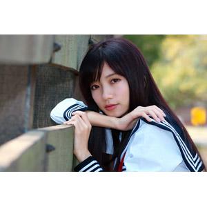 フリー写真, 人物, 女性, アジア人女性, 少女, アジアの少女, 中国人, 可艾(00184), 高校生, セーラー服(学生服), 学生服, 学生(生徒)