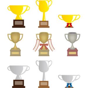 フリーイラスト, ベクター画像, AI, トロフィー, 一位(優勝), 二位, 賞, 優勝カップ, 金, 銀