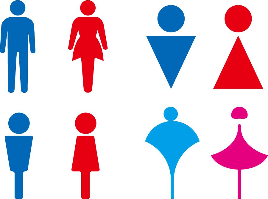 フリーイラスト 4種類の男女のトイレマークのセット