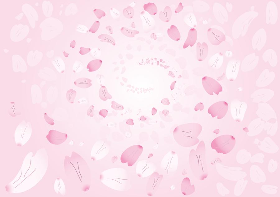 フリーイラスト 桜吹雪とピンク色の背景