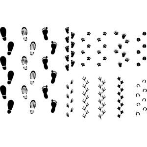 フリーイラスト, ベクター画像, AI, 足跡(人物), 足跡(動物)