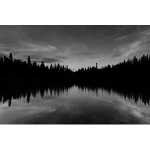 フリー写真, 風景, 自然, 樹木, 森林, 湖, ラッセン火山国立公園, カリフォルニア州, アメリカの風景, モノクロ