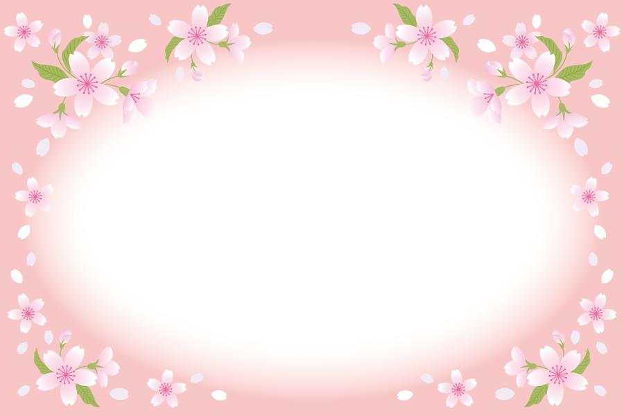 フリーイラスト 桜の花の円形フレーム