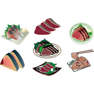 フリーイラスト, ベクター画像, AI, 食べ物(食料), 料理, 日本料理, 和食, 刺身(さしみ), 魚介料理, 鰹のたたき, 鰹(カツオ)