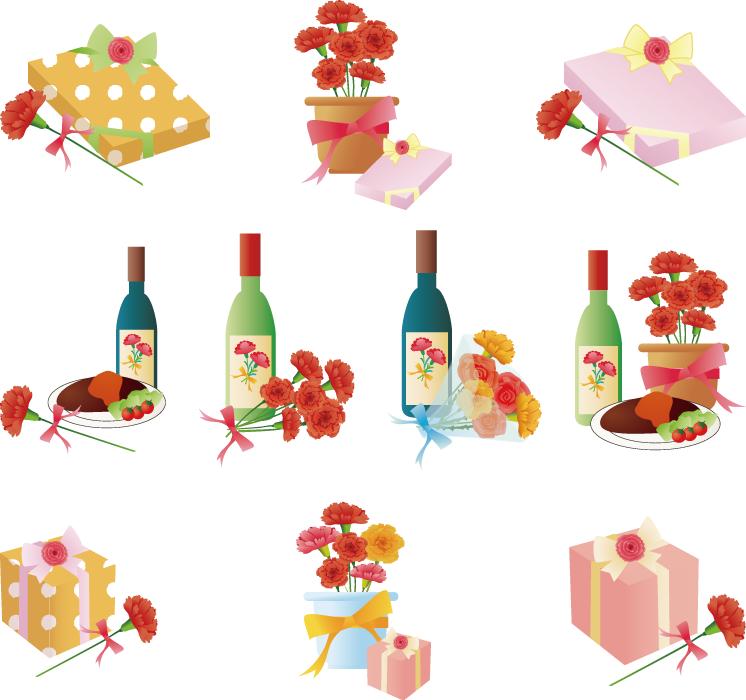 フリーイラスト 10種類のカーネーションと母の日のプレゼントのセット